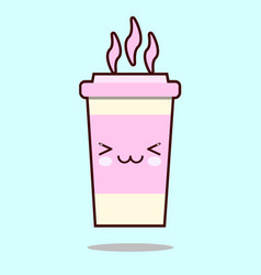 Coffee cup cute kawaii smiling and friendly vector