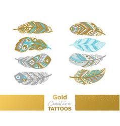 Metallic temporary tattoos gold silver ethnic vector