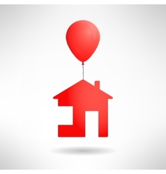 Red house flying on a balloon Real estate present vector image