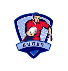 Rugby player running ball front shield vector image vector image