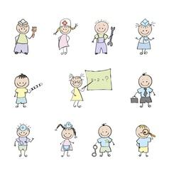 children in uniforms vector image vector image