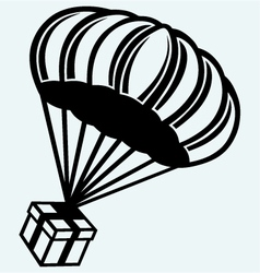 Gift box parachute falling from the sky vector image
