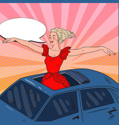 pop art blonde woman standing in a car sunroof vector image
