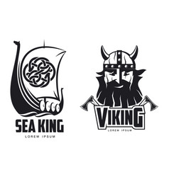 Vikings icon logo simple set flat isolated vector