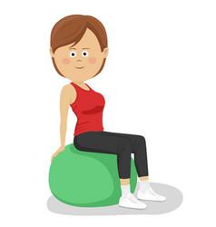young woman sitting on yoga ball vector image