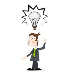 Man with Bulb Cartoon Man in Suit with Big Bulb vector image vector image