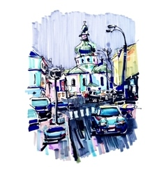 original marker urban sketch on paper of Kyiv vector image