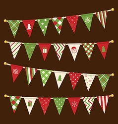 triangle bunting flags Christmas garland set vector image