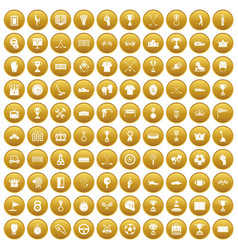 100 awards icons set gold vector image