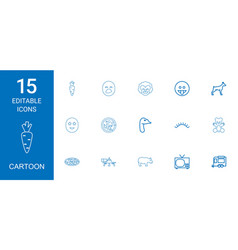 15 cartoon icons vector