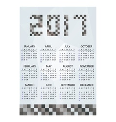 2017 simple business wall calendar grayscale vector image vector image