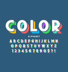 3d display font design alphabet letters and vector image