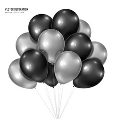 3d realistic silver with black bunch of vector image