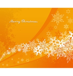 Abstract orange background with snowflakes and vector