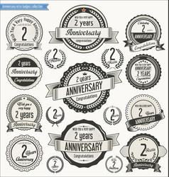 Anniversary retro badges collection 2 years vector