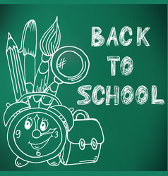 Back to school green board drawing with chalk vector