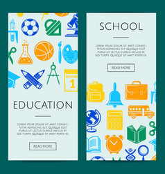 back to school stationery web banner vector image