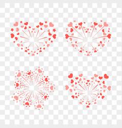 beautiful heart-fireworks set red salute isolated vector image