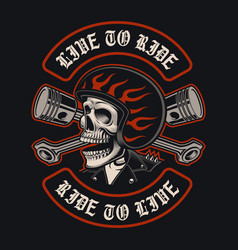 biker skull with crossed pistons vector image