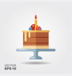 birthday cake on the stand flat icon with shadow vector image