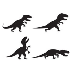 Black silhouette of t-rex and velociraptor in vector