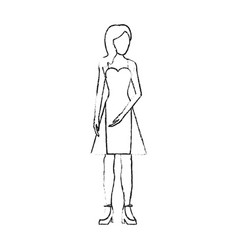 Blurred silhouette image faceless woman with dress vector