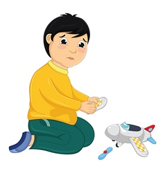 Boy with his broken toy vector
