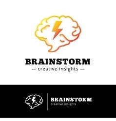Brain with lightning logo concept Creative vector
