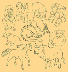 bull-dog-dragon-horse-monkey-pig-rat-sheep-snake vector image