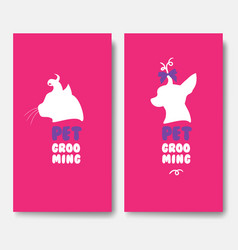 Business cards templates of grooming service pet vector