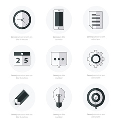 Business Set of flat design icons Black Color Styl vector