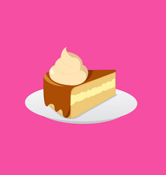 Cake chocolate and cream on plate with cream vector
