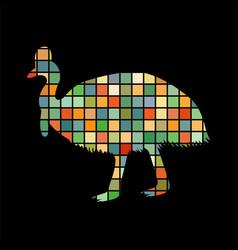 cassowary bird mosaic color silhouette animal vector image