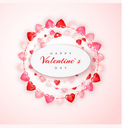 circle decoration garland red and pink hearts vector image
