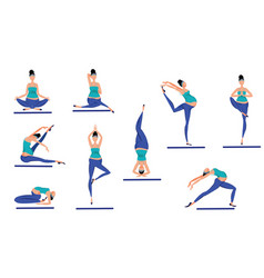 Colorful yoga poses set vector