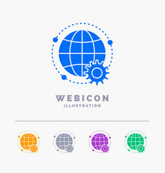 connected online world globe multiplayer 5 color vector image