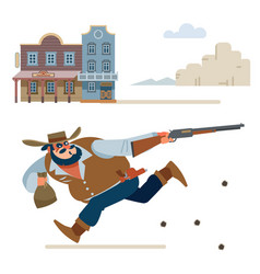Cowboy escapes in a shootout from sheriff vector