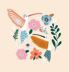 creative hummingbirds with flowers spring and vector image