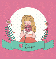 Cute horoscope zodiac girl virgo vector
