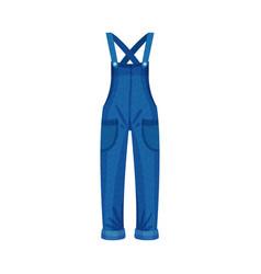 Denim blue overall or jumpsuit with shoulder vector