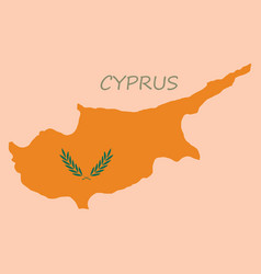 Detailed of a map of cyprus with flag eps10 vector