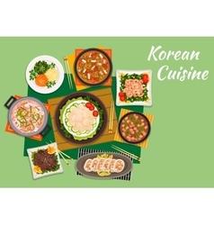 Dinner of national korean cuisine vector