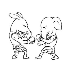 donkey and elephant boxers black and white drawing vector image