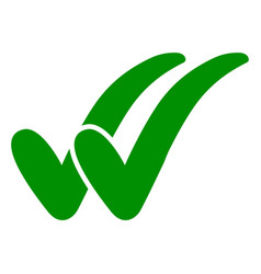 double check icon two green checkmarks vector image