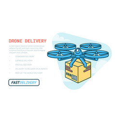 drone delivery service remote air drone with vector image
