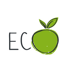 eco symbol concept with green apple hand drawn vector image