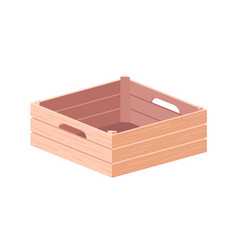 Empty wooden box with handles farm crate from vector
