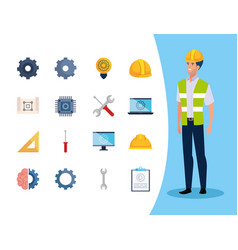 Engineer man with set icons working vector