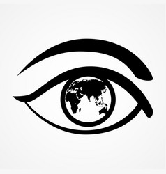 eye with world map vector image