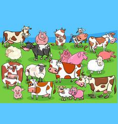 farm animals cartoon characters group on meadow vector image